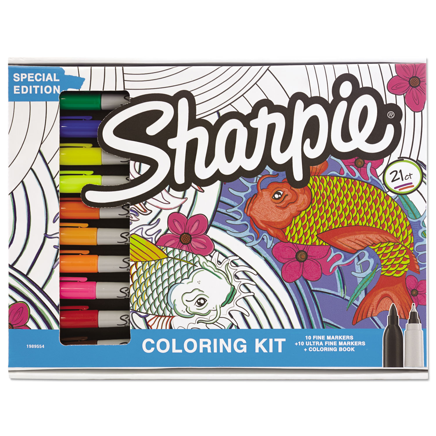 Adult Coloring Kit Aquatic Theme Book With 20 Markers