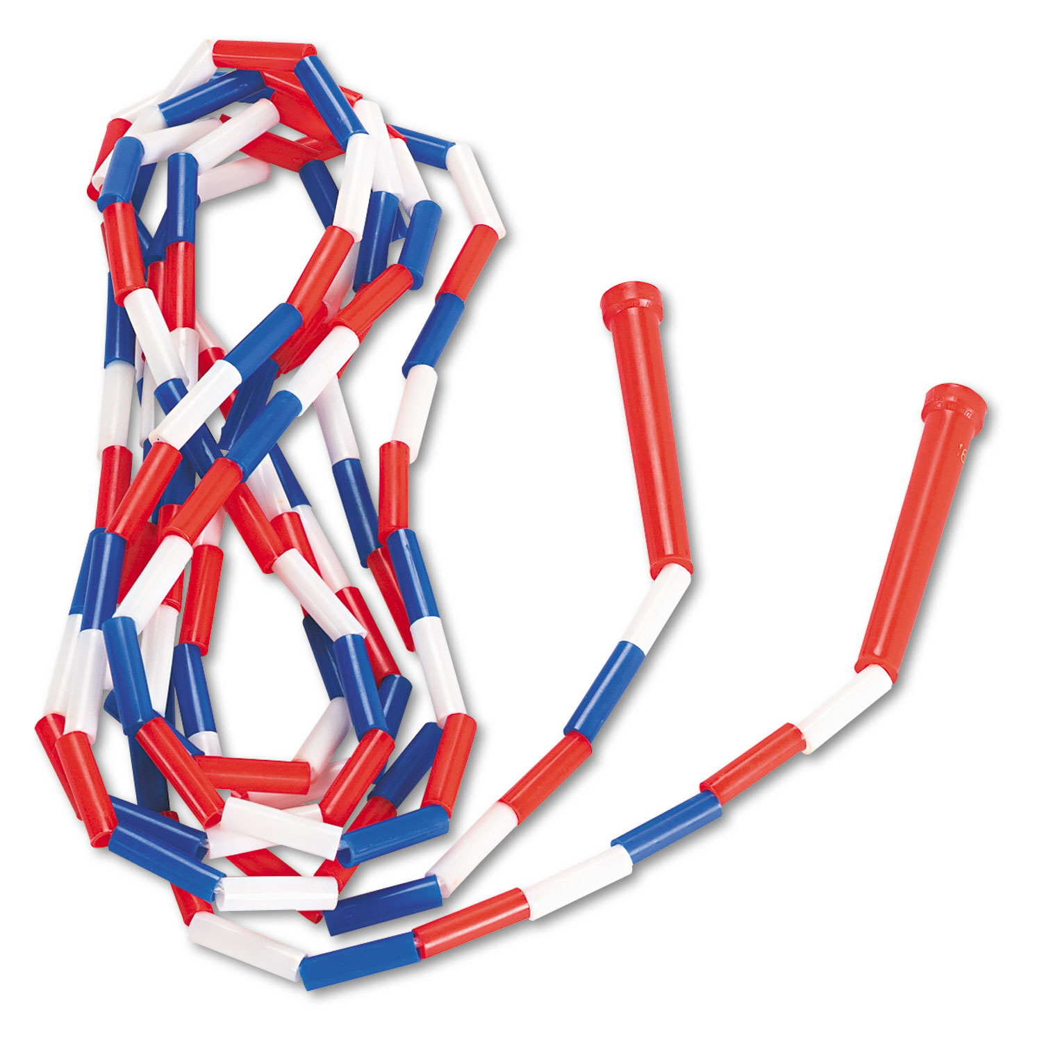 Segmented Plastic Jump Rope, 16ft, Red/Blue/White