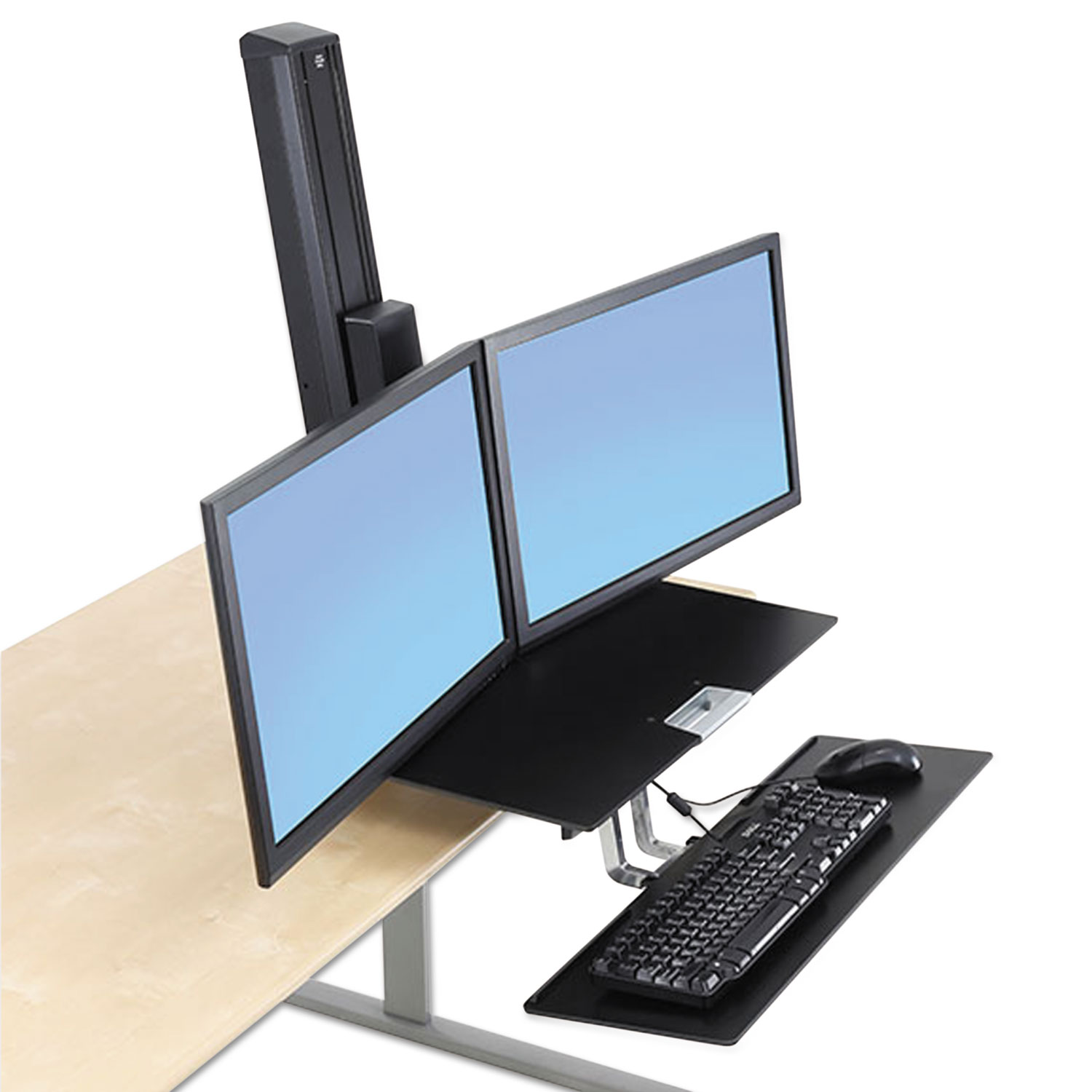 Workfit S Sit Stand Workstation W Worksurface Dual Lcd Monitors Aluminum Black