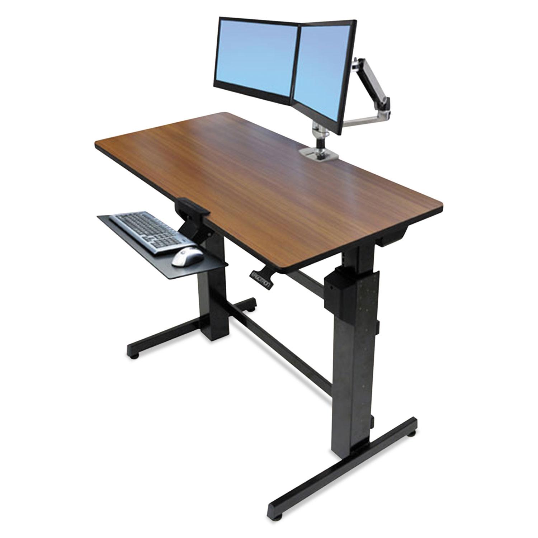 Merveilleux WorkFit D Sit Stand Workstation, 47 5/8 X 23 1/2 X 50 5/8, Walnut/Black