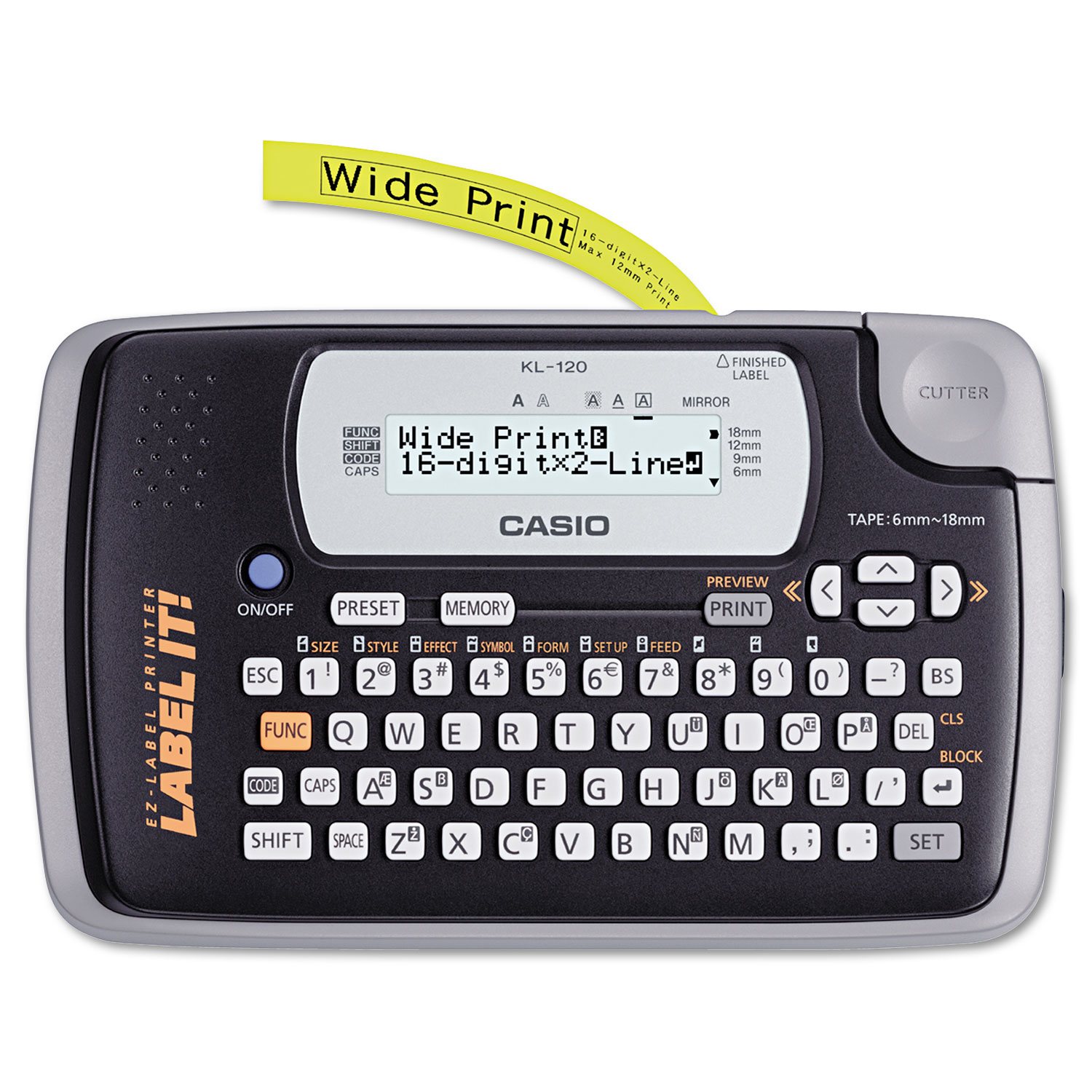 KL-120 Label Maker, 2 Lines, 7-1/2w x 4-1/2d x 2-1/5h