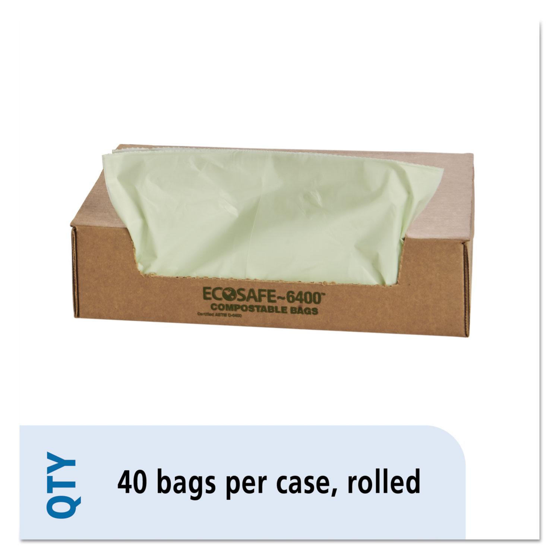 "EcoSafe-6400 Bags, 48 gal, 0.85 mil, 42"" x 48"", Green, 40/Box"