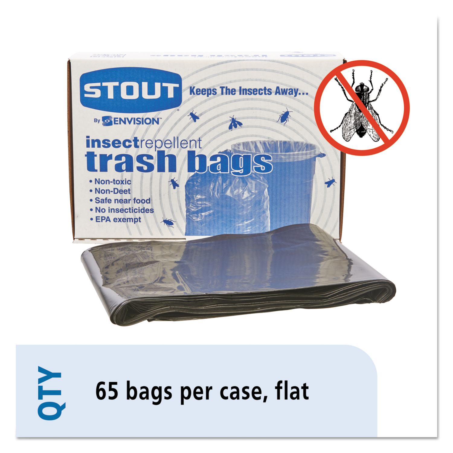 """Insect-Repellent Trash Bags, 55 gal, 2 mil, 37"""" x 52"""", Black, 65/Box"""