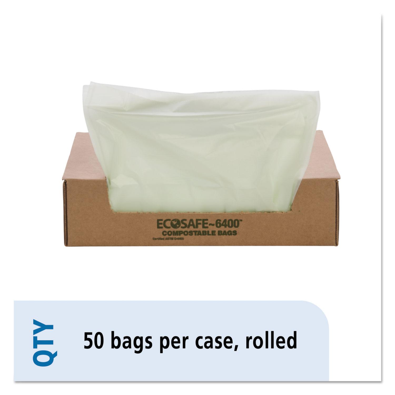 "EcoSafe-6400 Bags, 32 gal, 0.85 mil, 33"" x 48"", Green, 50/Box"
