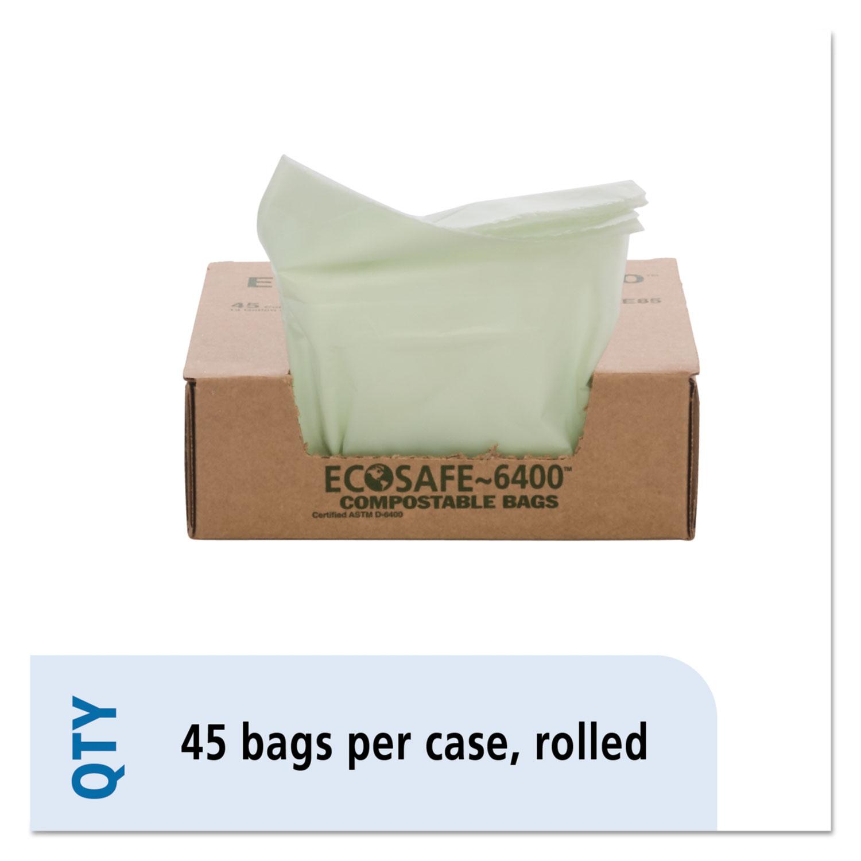 "EcoSafe-6400 Bags, 13 gal, 0.85 mil, 24"" x 30"", Green, 45/Box"