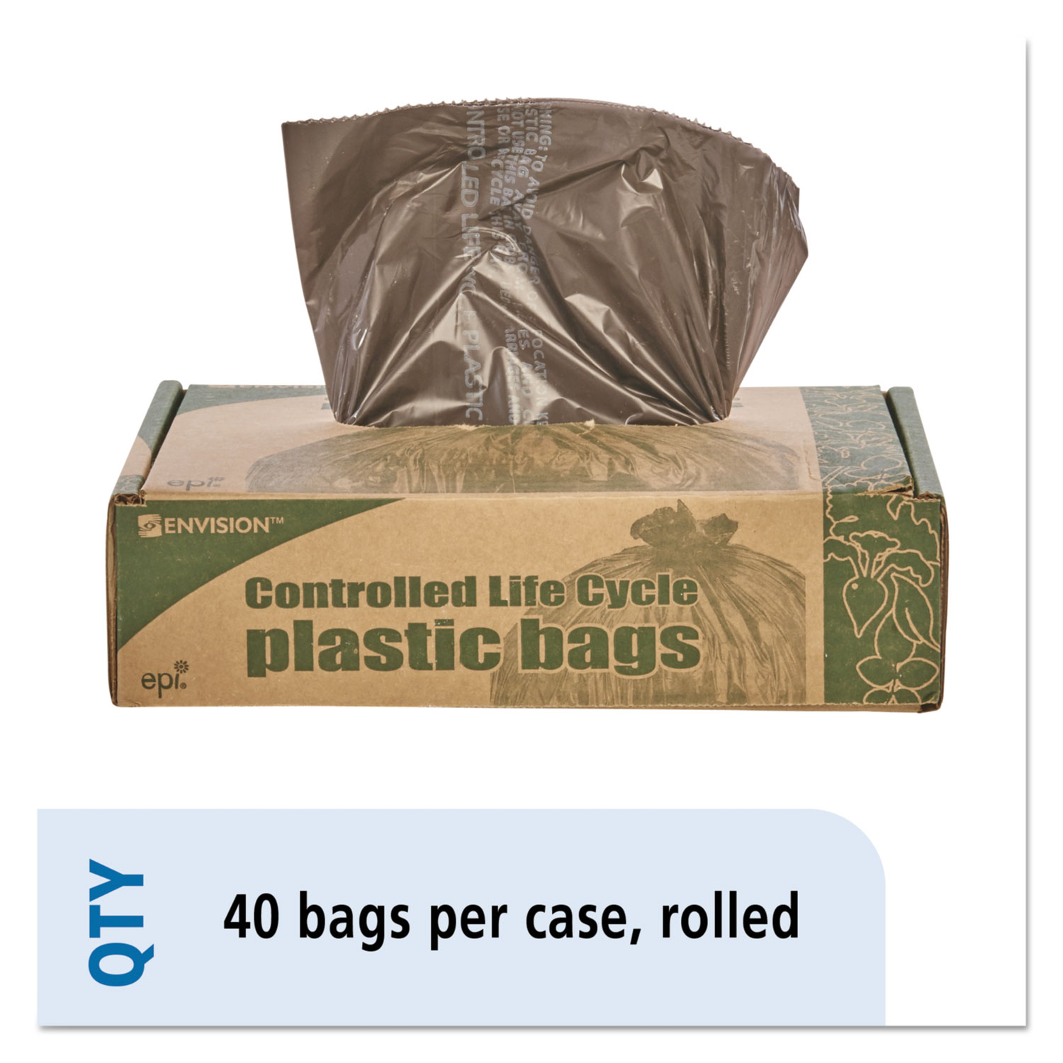 "Controlled Life-Cycle Plastic Trash Bags, 39 gal, 1.1 mil, 33"" x 44"", Brown, 40/Box"