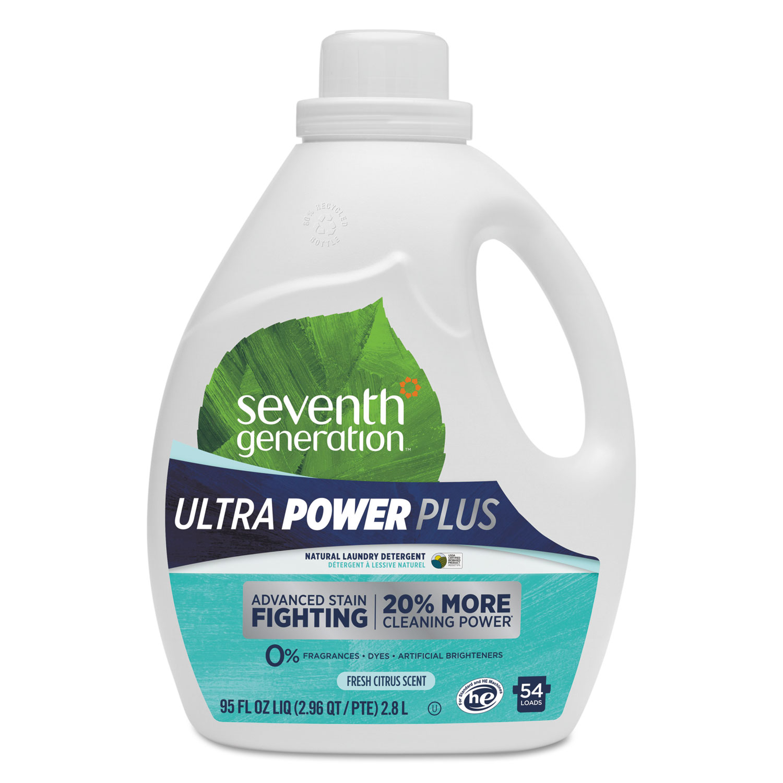 Natural Liquid Laundry Detergent, Ultra Power Plus, Fresh Scent, 54 Loads, 95 oz