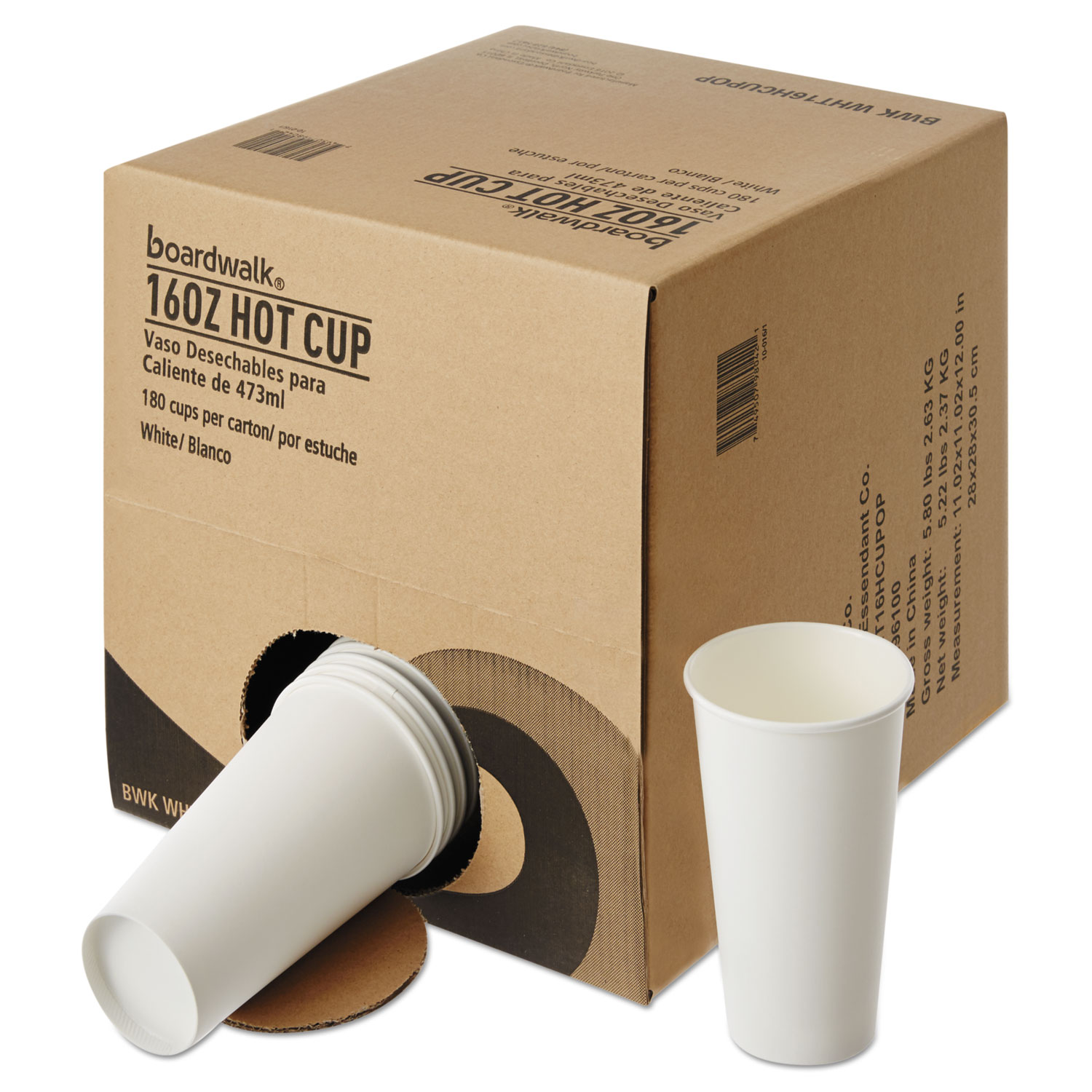 Convenience Pack Paper Hot Cups, 16 oz, White, 9 Cups/Sleeve, 20 Sleeves/Carton