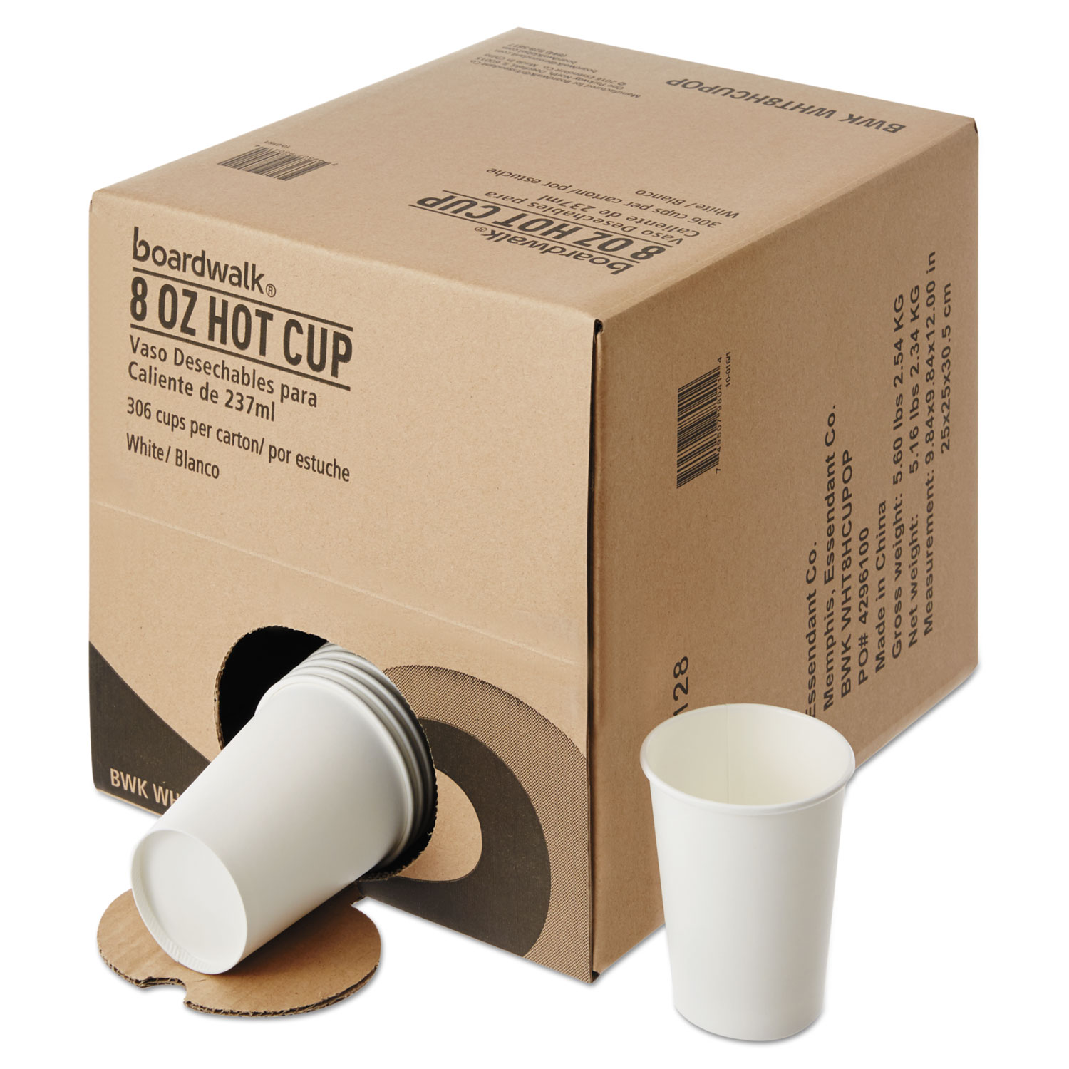 Convenience Pack Paper Hot Cups, 8 oz, White, 9 Cups/Sleeve, 34 Sleeves/Carton