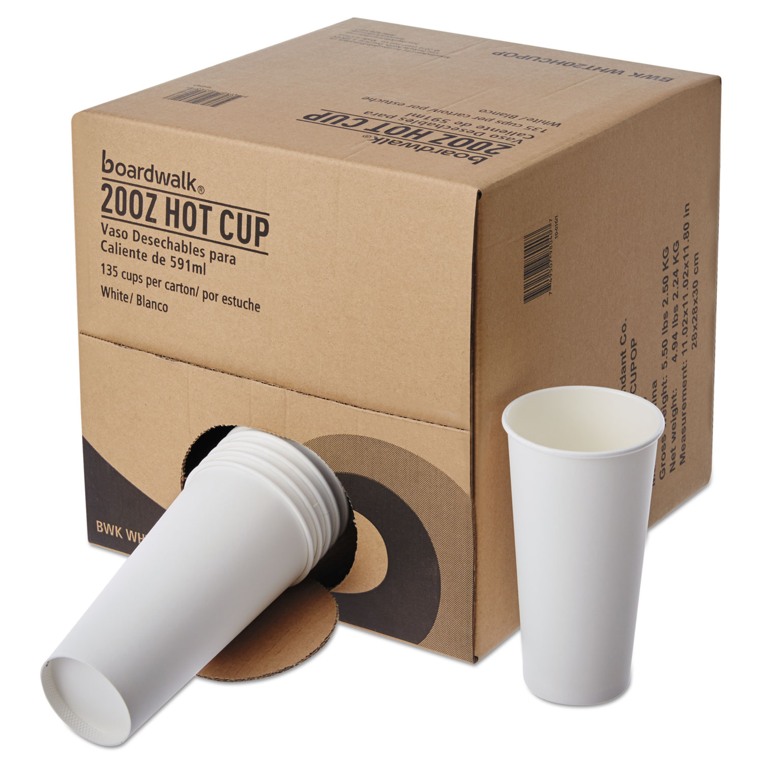 Convenience Pack Paper Hot Cups, 20 oz, White, 9 Cups/Sleeve, 15 Sleeves/Carton