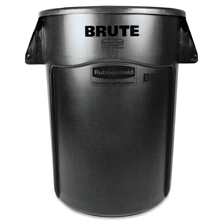 Brute Vented Trash Receptacle, Round, 44 gal, Black