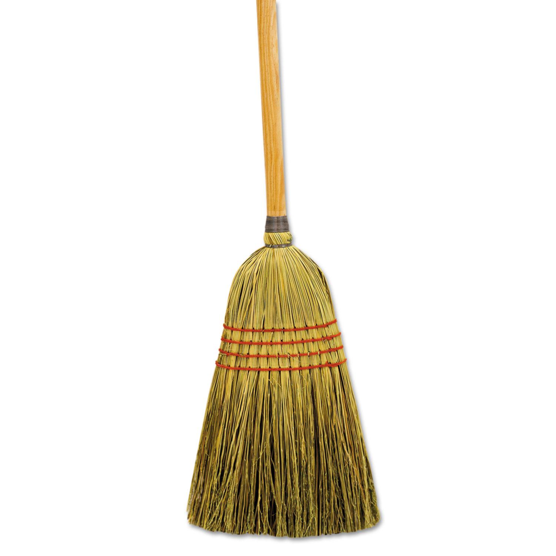 """Maid Broom, Mixed Fiber Bristles, 55"""" Long, Natural, 12/Carton"""