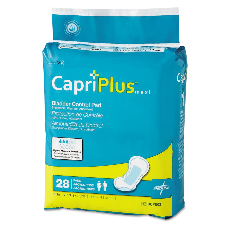 """Capri Plus Bladder Control Pads, Ultra Plus, 8"""" x 17"""", 28/Pack"""