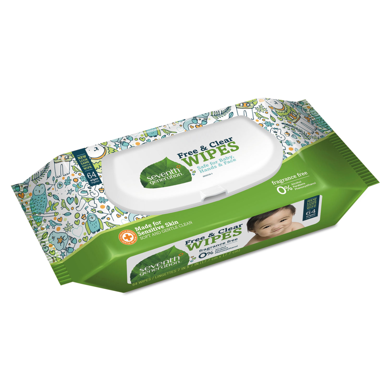 Free & Clear Baby Wipes, Unscented, White, 64/Pack - Action