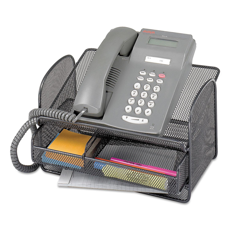 Onyx Angled Mesh Steel Telephone Stand, 11 3/4 x 9 1/4 x 7, Black