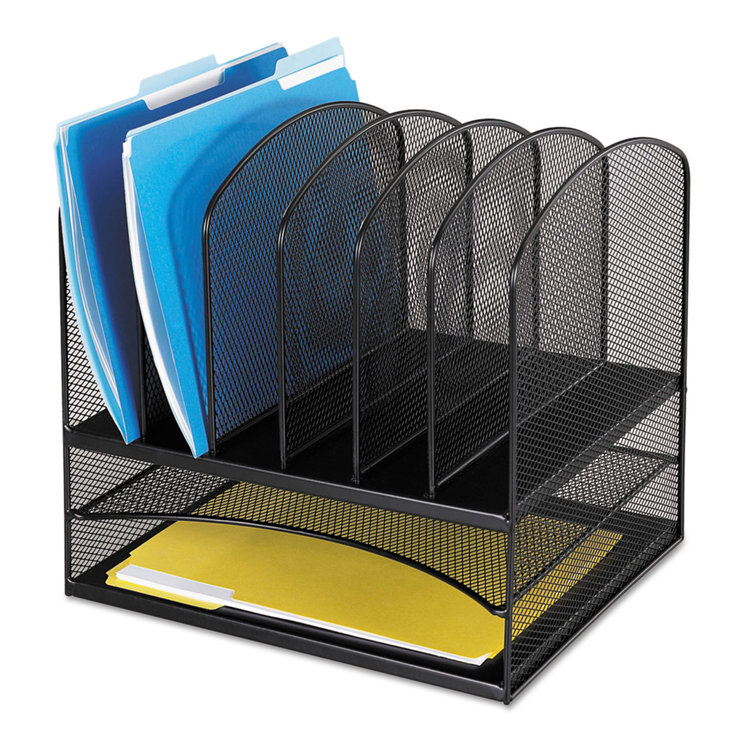 """Onyx Mesh Desk Organizer with Two Horizontal and Six Upright Sections, Letter Size Files, 13.25"""" x 11.5"""" x 13"""", Black"""