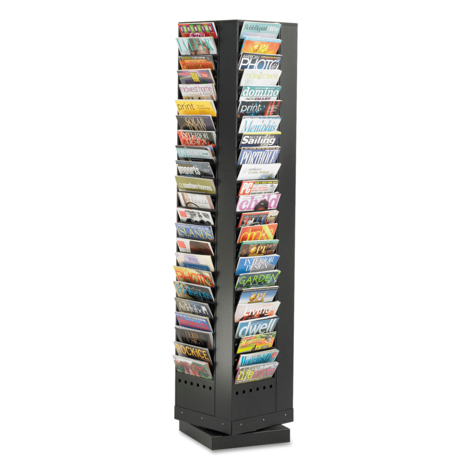 Steel Rotary Magazine Rack, 92 Compartments, 14w x 14d x 68h, Black
