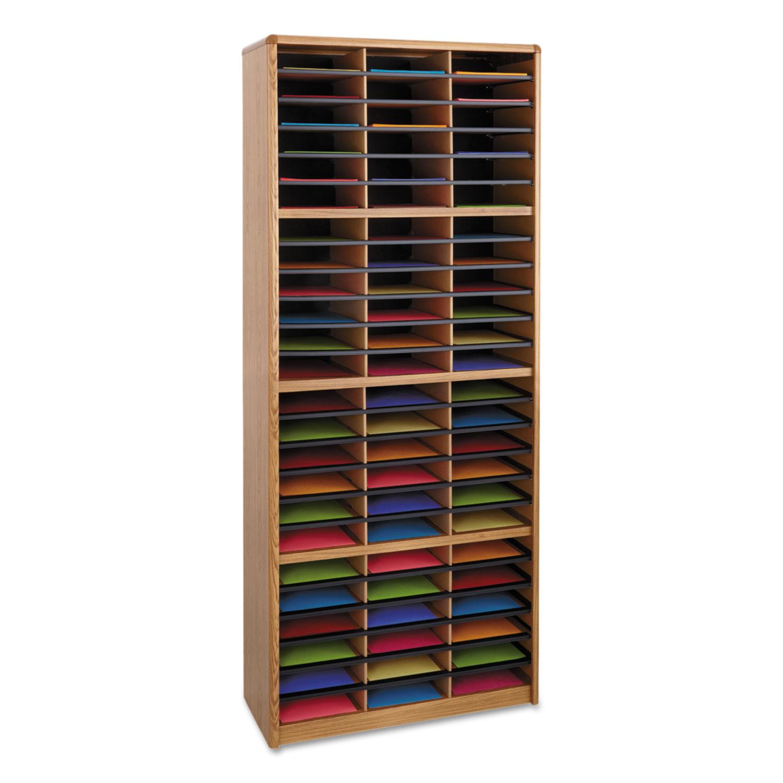 Steel/Fiberboard Literature Sorter, 72 Sections, 32 1/4 x 13 1/2 x 75, Med Oak
