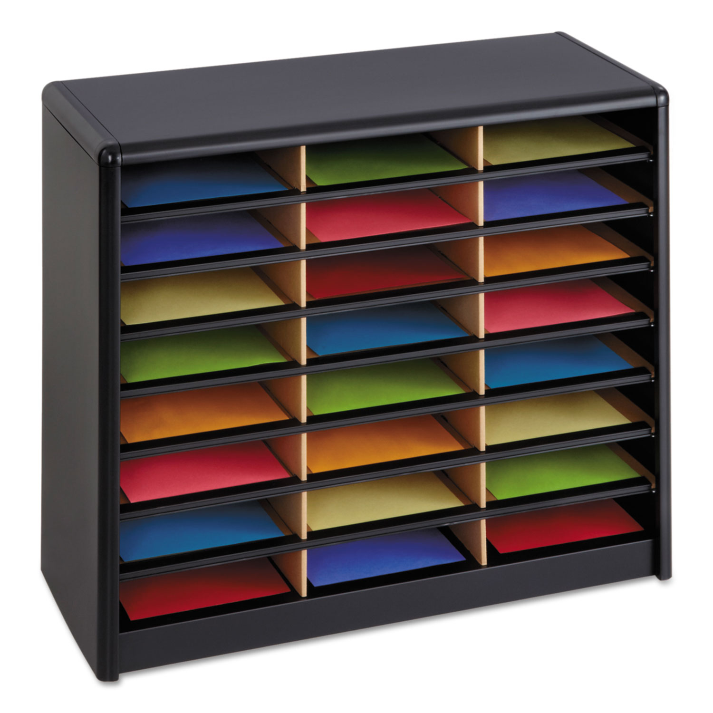 Steel/Fiberboard Literature Sorter, 24 Sections, 32 1/4 x 13 1/2 x 25 3/4, Black
