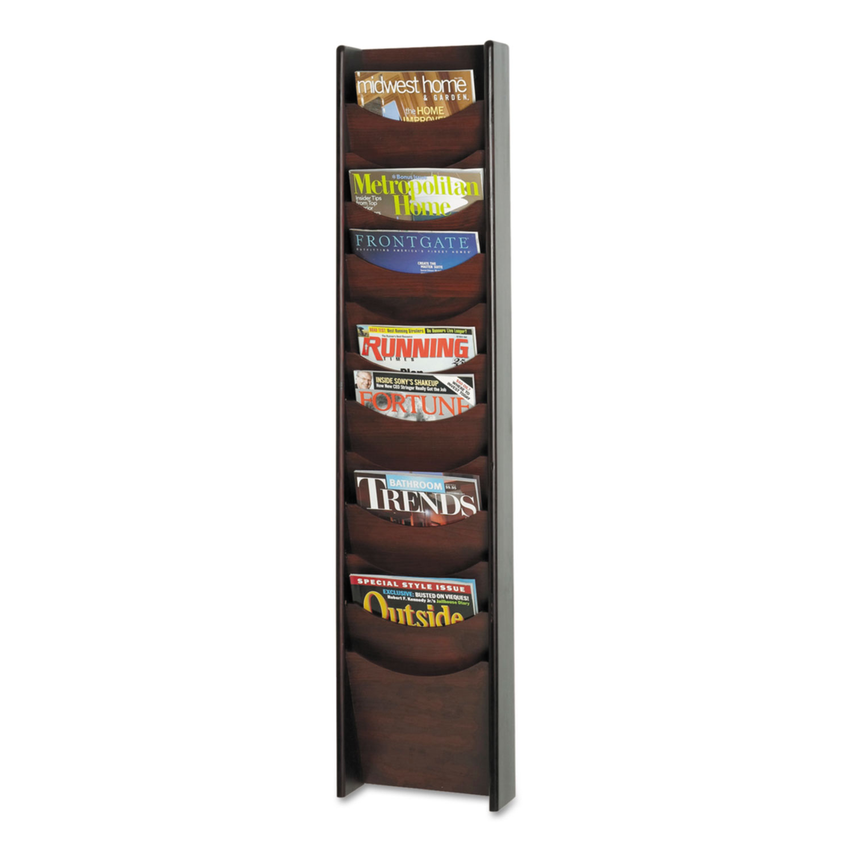 Solid Wood Wall-Mount Literature Display Rack, 11.25w x 3.75d x 48.75h, Mahogany