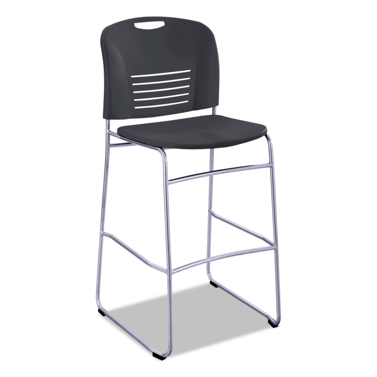 Fine Vy Sled Base Bistro Chair Black Seat Black Back Silver Machost Co Dining Chair Design Ideas Machostcouk