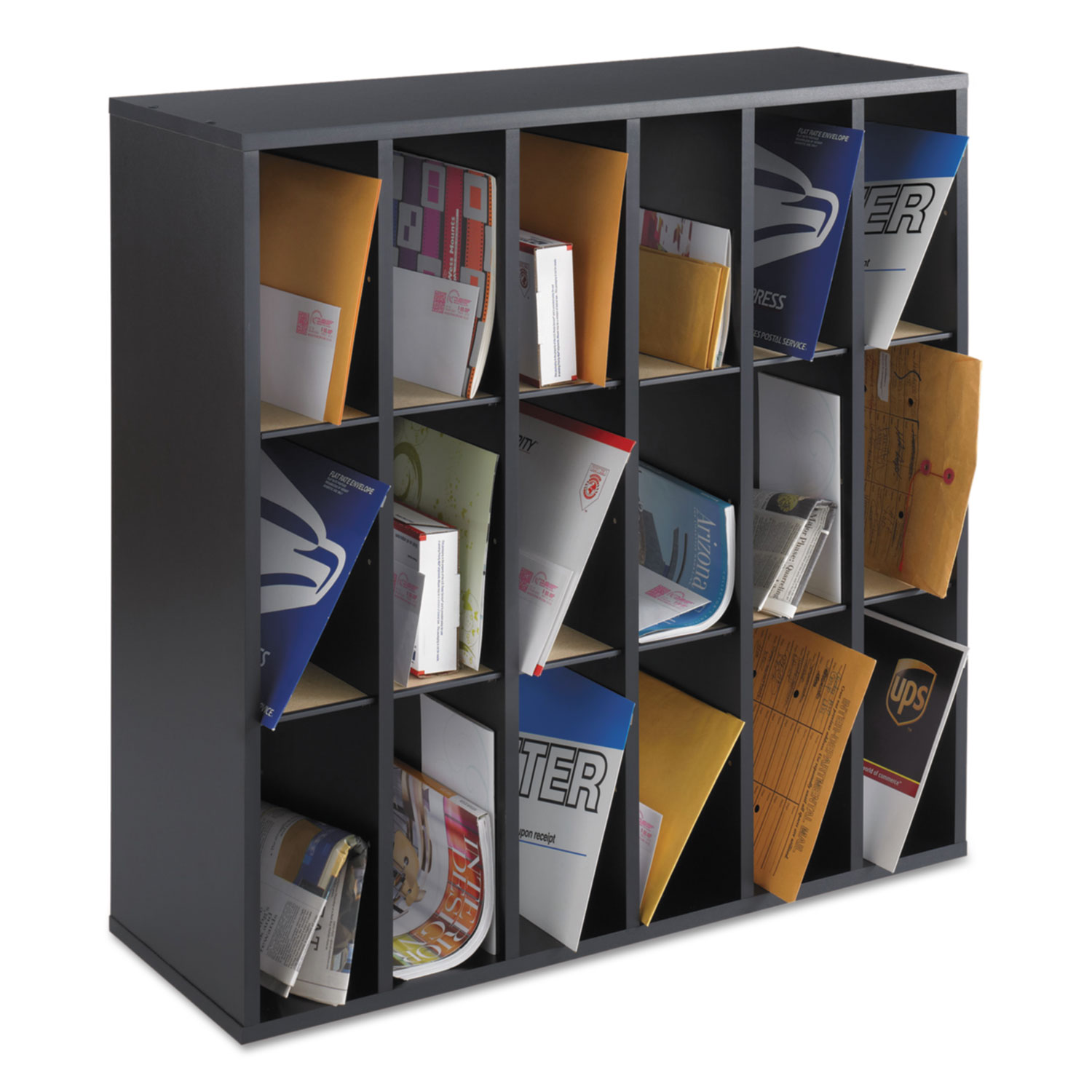 Safco Wood Mail Sorter with Adjustable Dividers, Stackable, 18  Compartments, Black 49bbd202e64