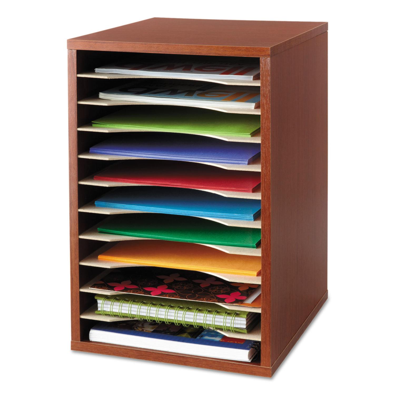Wood Desktop Literature Sorter, 11 Sections 10 5/8 x 11 7/8 x 16, Cherry