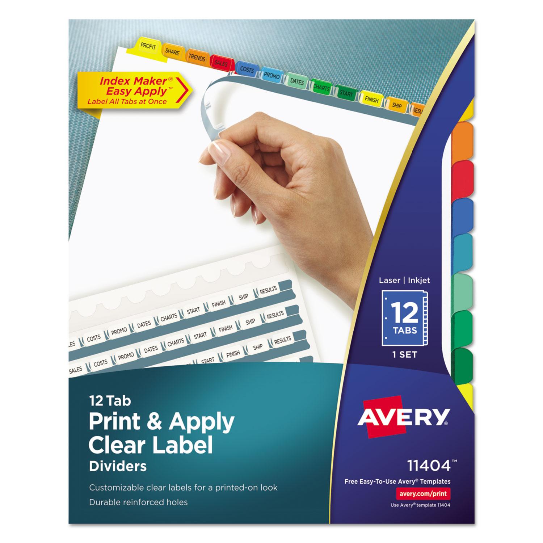 Index Maker Print Amp Apply Clear Label Dividers W Color