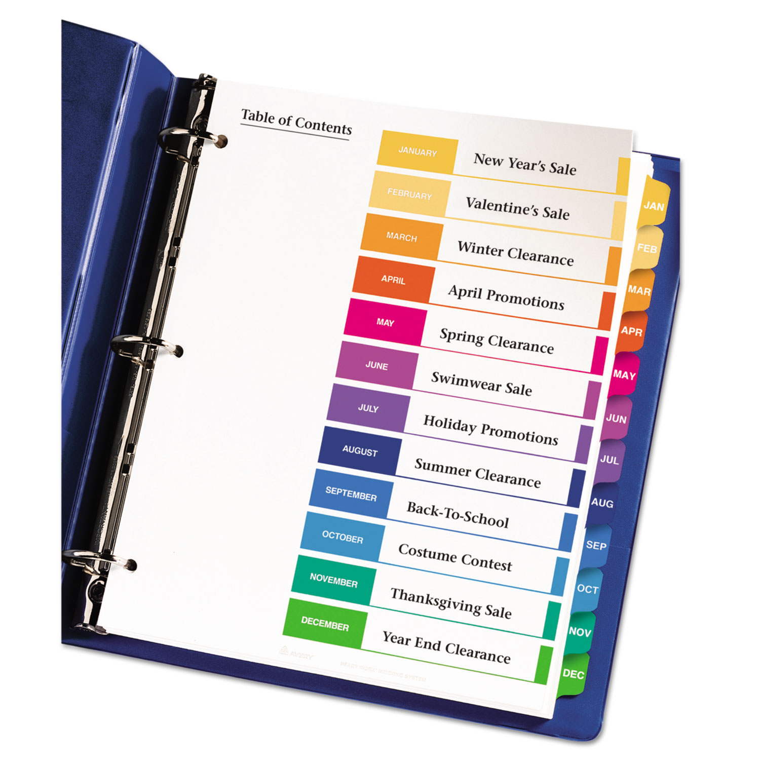 Customizable TOC Ready Index Multicolor Dividers, 12-Tab