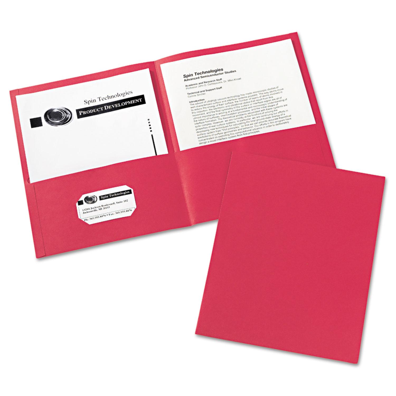 Two-Pocket Folder, 40-Sheet Capacity, Red, 25/Box