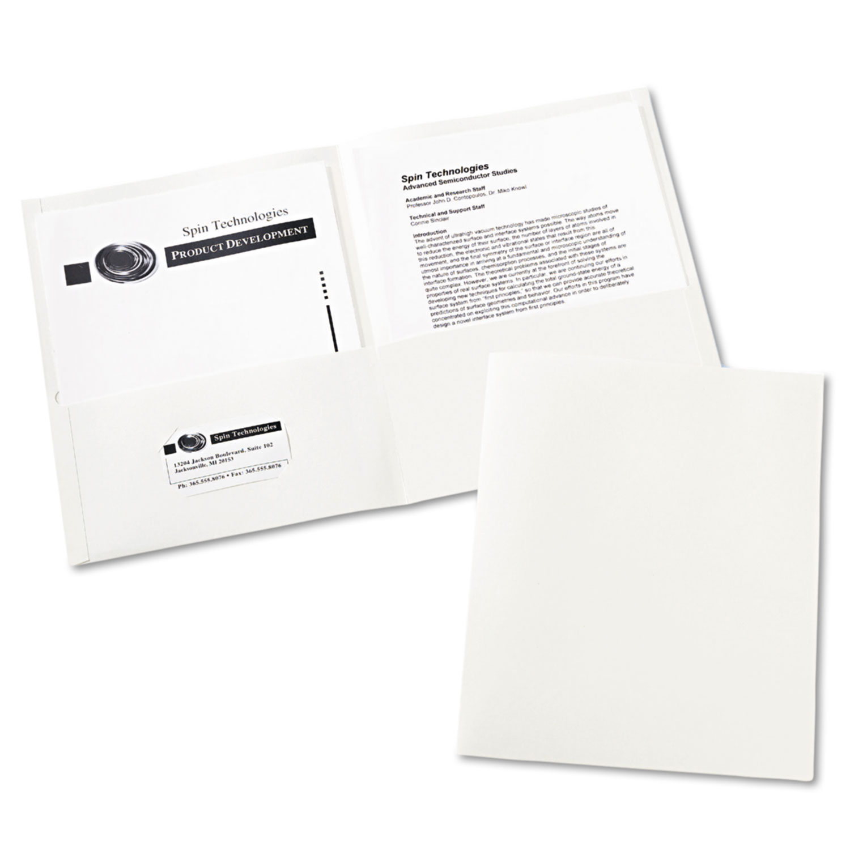 Two-Pocket Folder, 40-Sheet Capacity, White, 25/Box