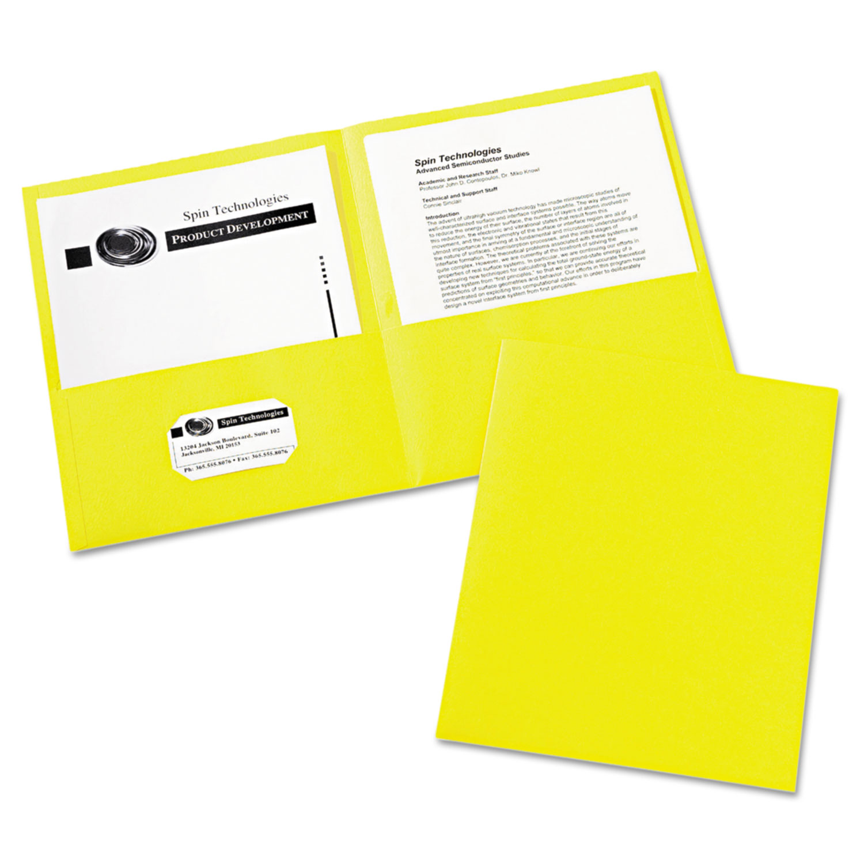 Two-Pocket Folder, 40-Sheet Capacity, Yellow, 25/Box