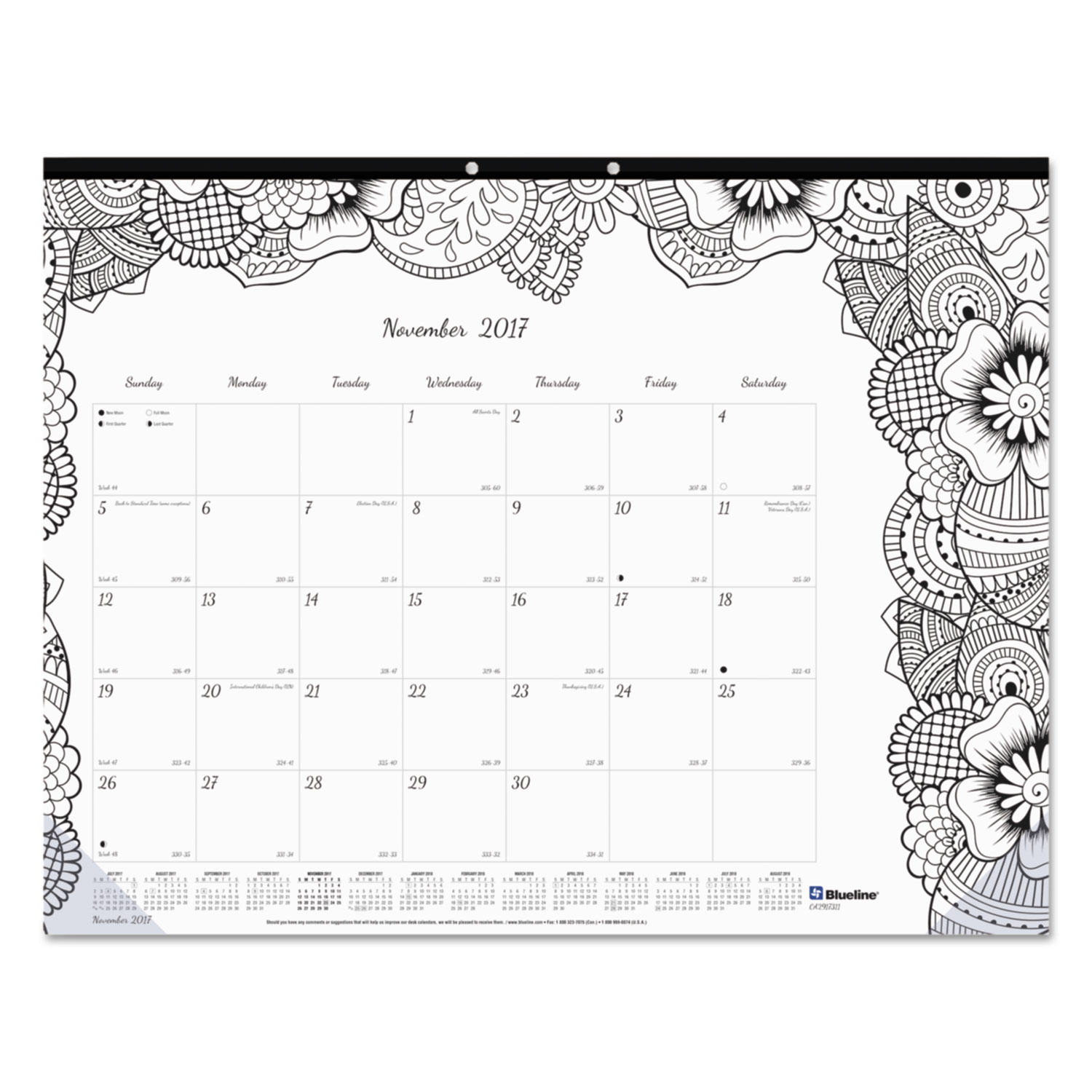 Academic DoodlePlan Desk Pad Calendar w/Coloring Pages by Blueline REDCA2917311 ...