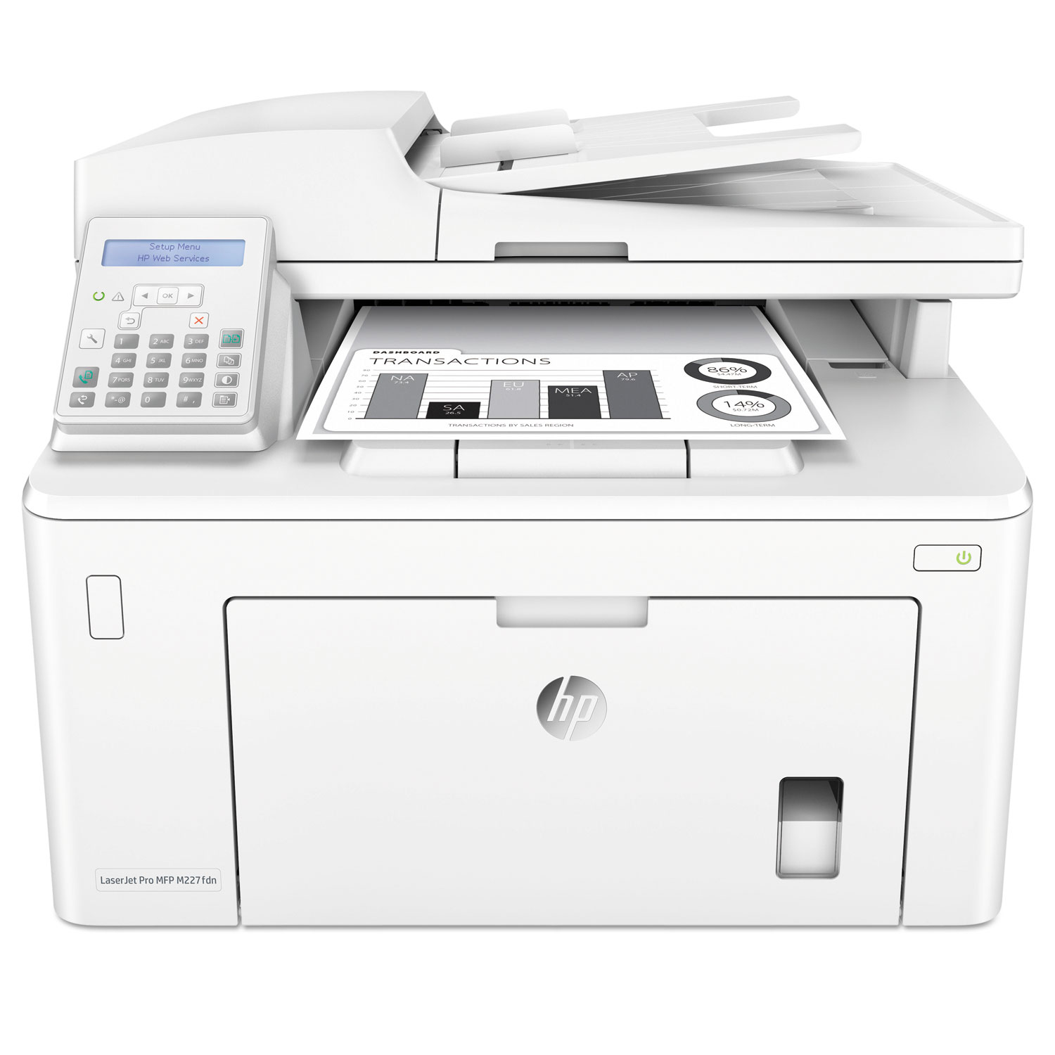 LaserJet Pro MFP M227fdn Multifunction Printer, Copy/Fax/Print/Scan