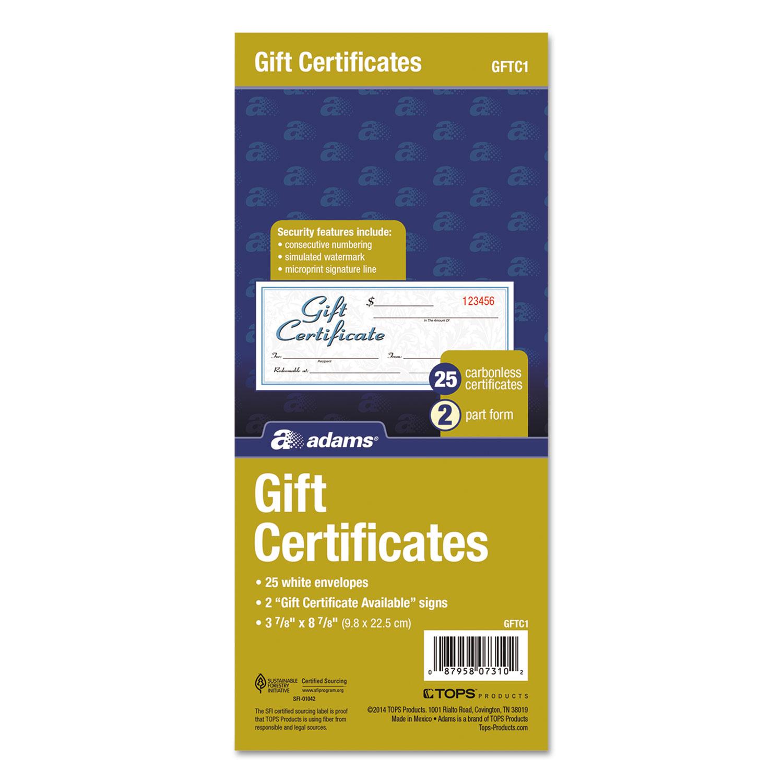 Gift Certificates Wenvelopes By Adams Abfgftc1 Ontimesupplies