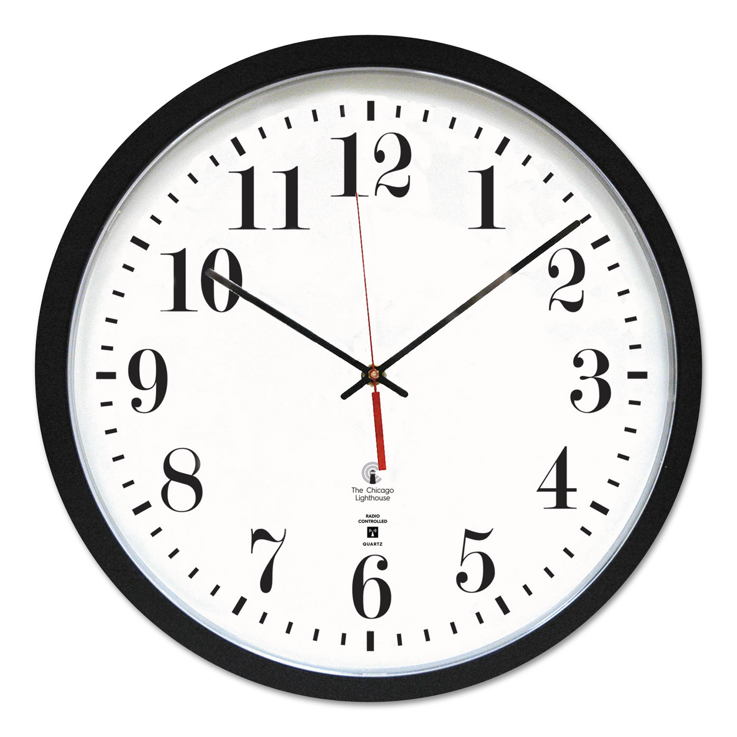 "Black ATOMIC Contemporary Clock, 16.5"" Overall Diameter, Black Case, 1 AA (sold separately)"