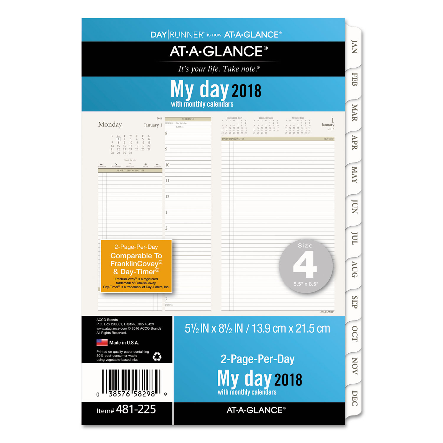two pages per day planning pages by at a glance day runner