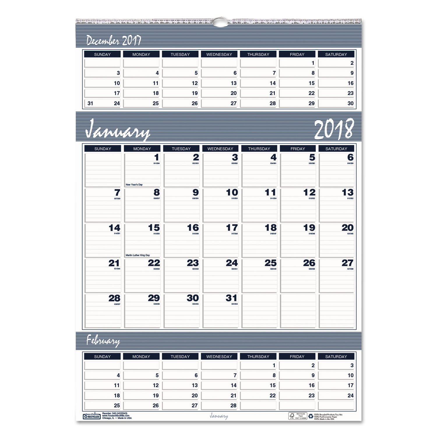 recycled bar harbor three months per page wall calendar by house of doolittle hod342