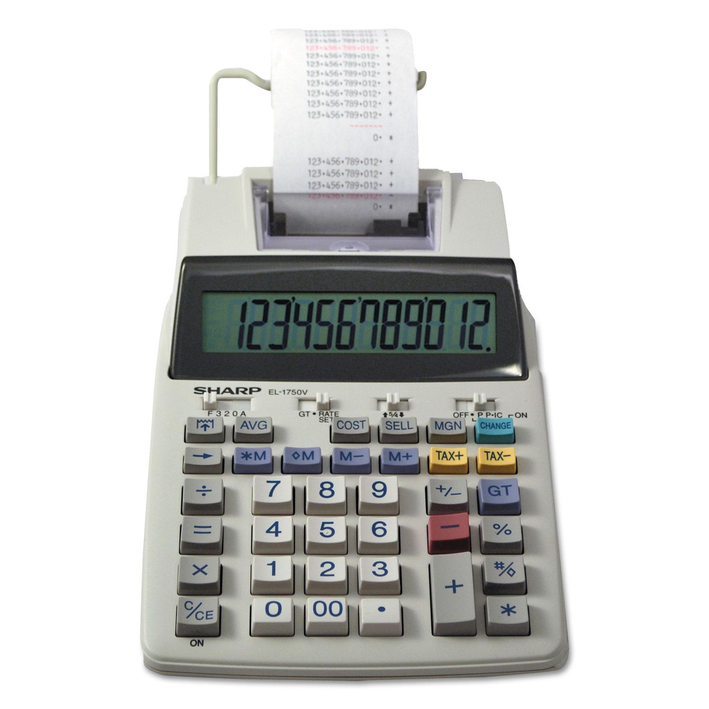 EL-1750V Two-Color Printing Calculator, Black/Red Print, 2