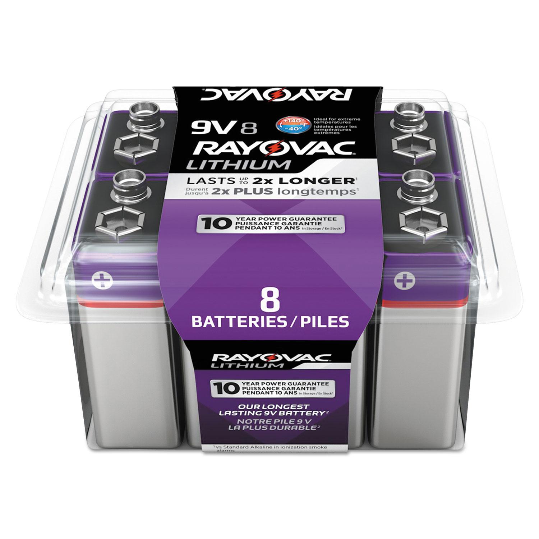Lithium Batteries, 9V, 8/Pack