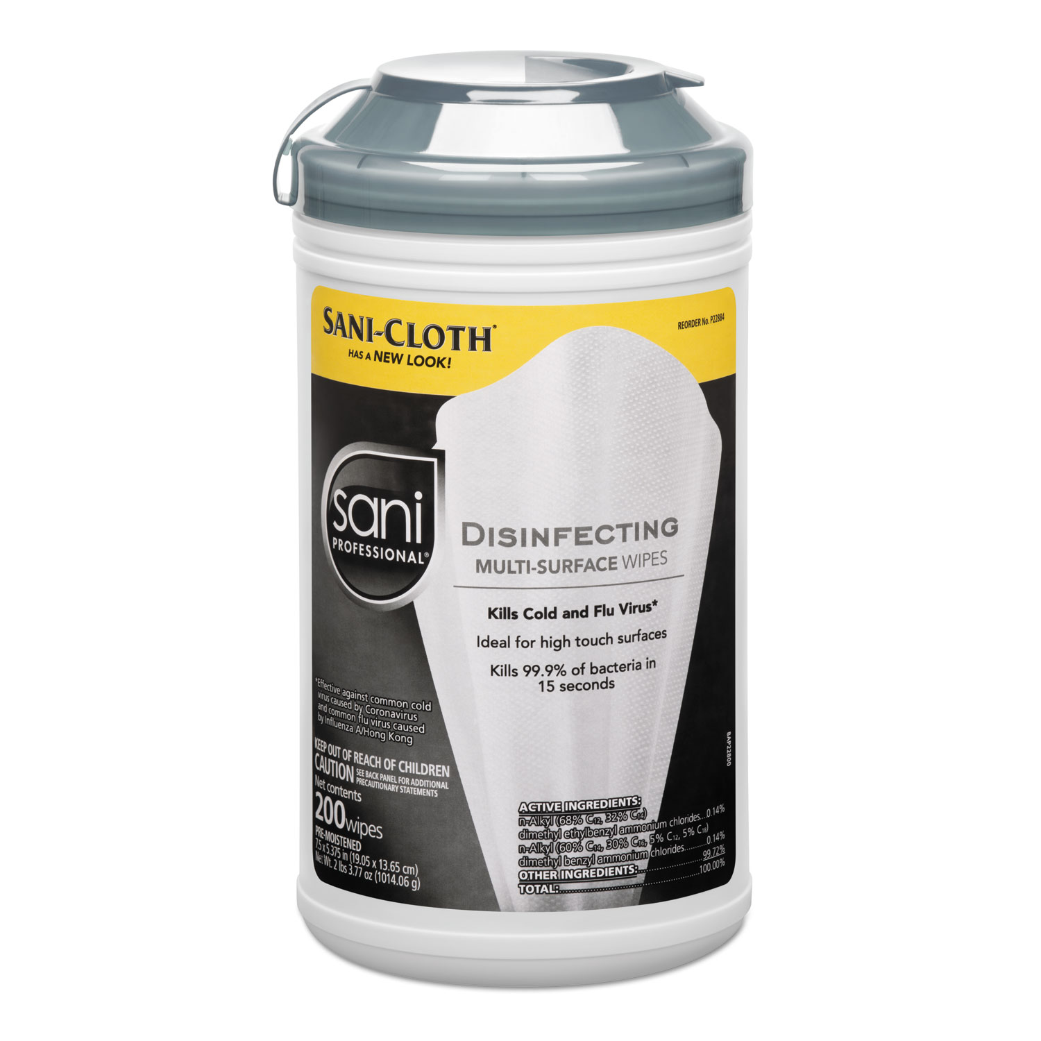 Disinfecting Multi-Surface Wipes, 7 1/2 x 5 3/8, 200/Canister, 6/Carton
