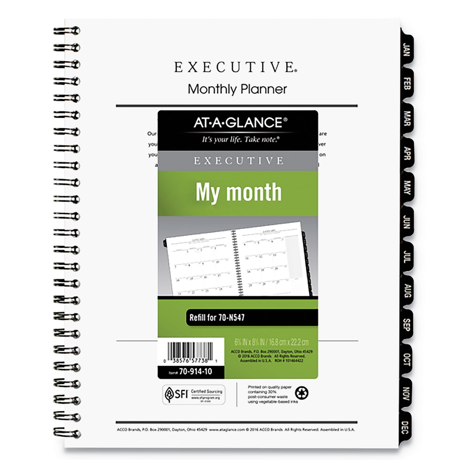 Executive Monthly Planner Refill, 6 5/8 X 8 3/4, White, 2020