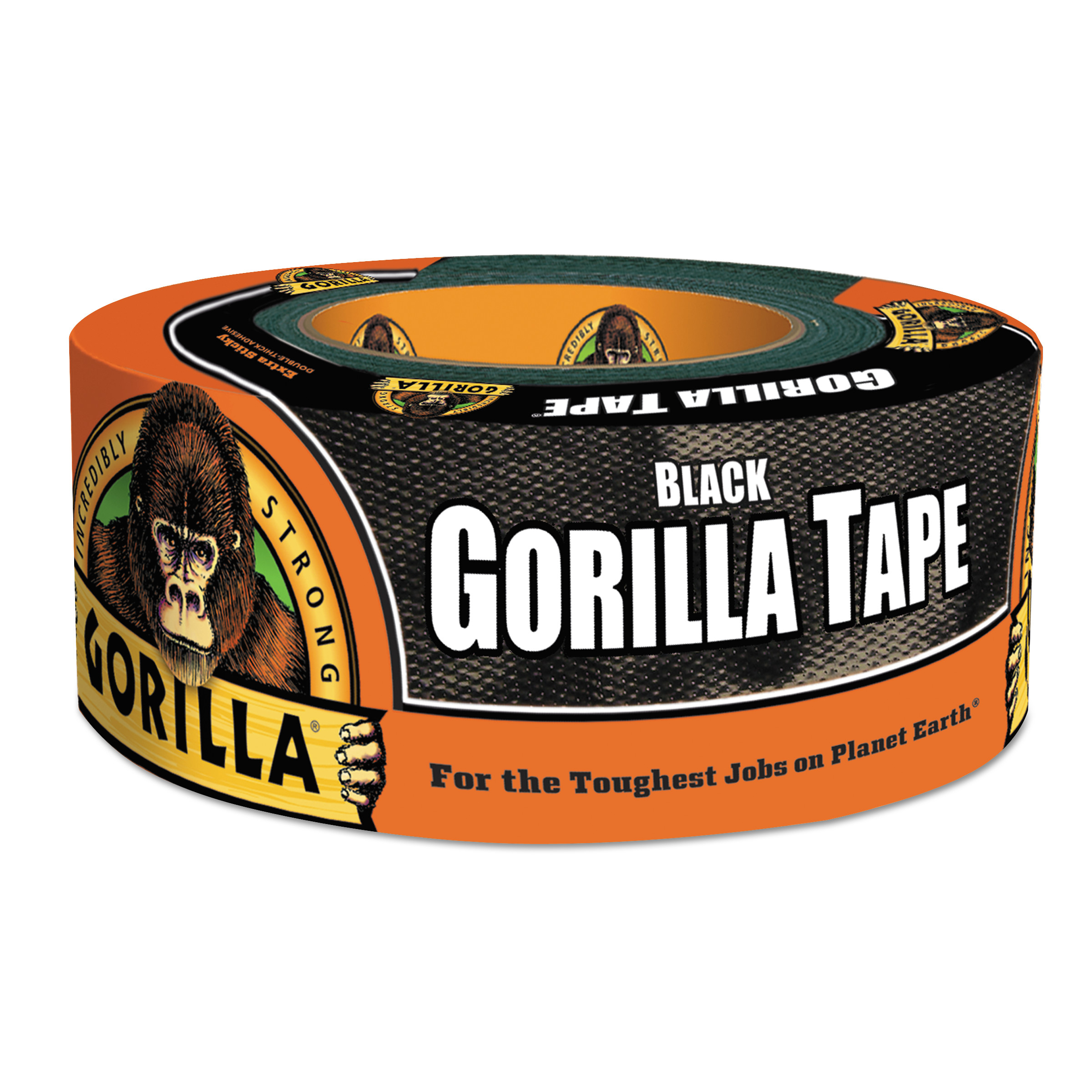 Gorilla Tape, Extra-Thick, All-Weather Duct Tape, 1.88 x 12 yds, 3 Core, Black