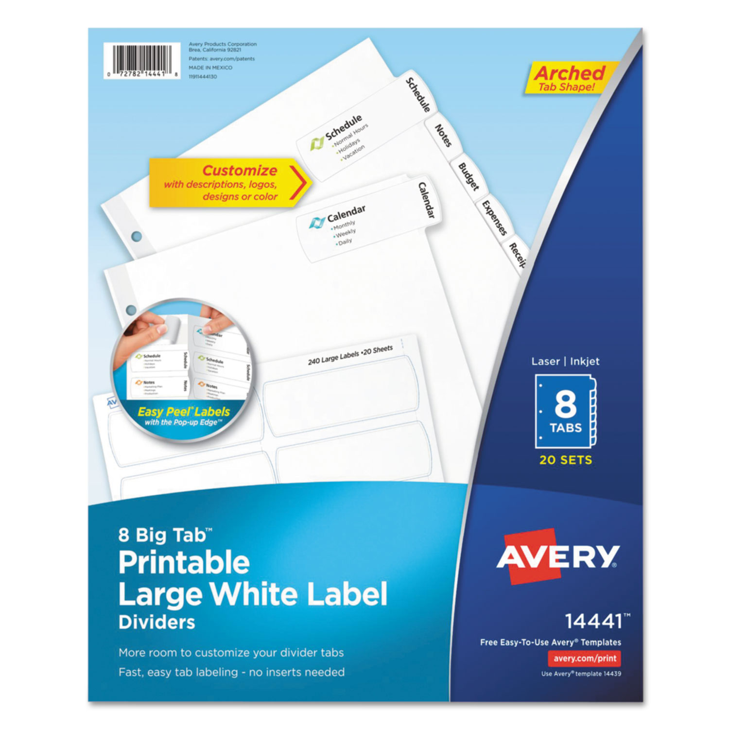 picture regarding Printable Window Decal Paper Avery called Substantial Tab Printable Superior White Label Tab Dividers, 8-Tab, Letter, 20 for each pack