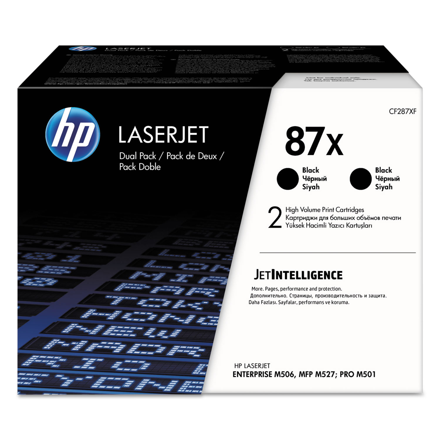 HP 87X, CF287X-D 2-pack High Yield Black Original LaserJet Toner Cartridges