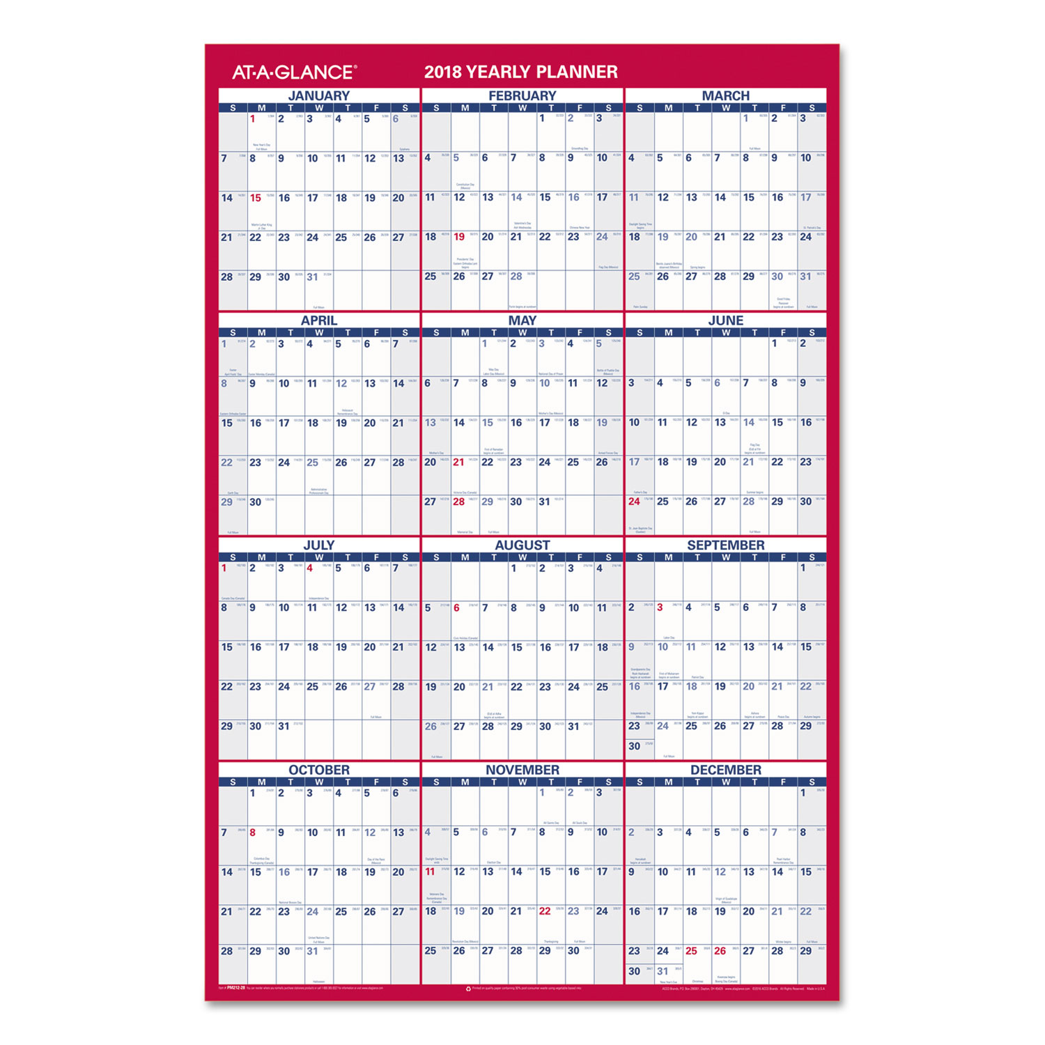 Calendar Vertical List : Vertical horizontal wall calendar by at a glance