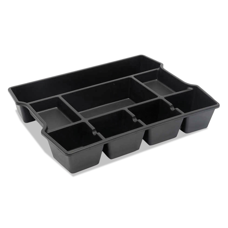 High Capacity Drawer Organizer, 14 7/8 x 11 7/8 x 2 1/2, Plastic, Black