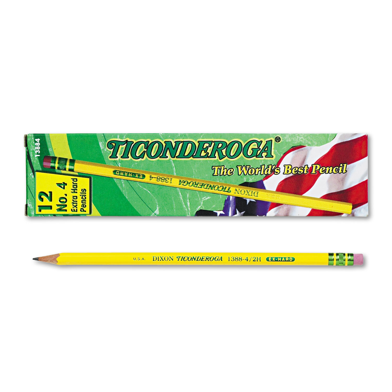 Pencils, 2H (#4), Black Lead, Yellow Barrel, Dozen