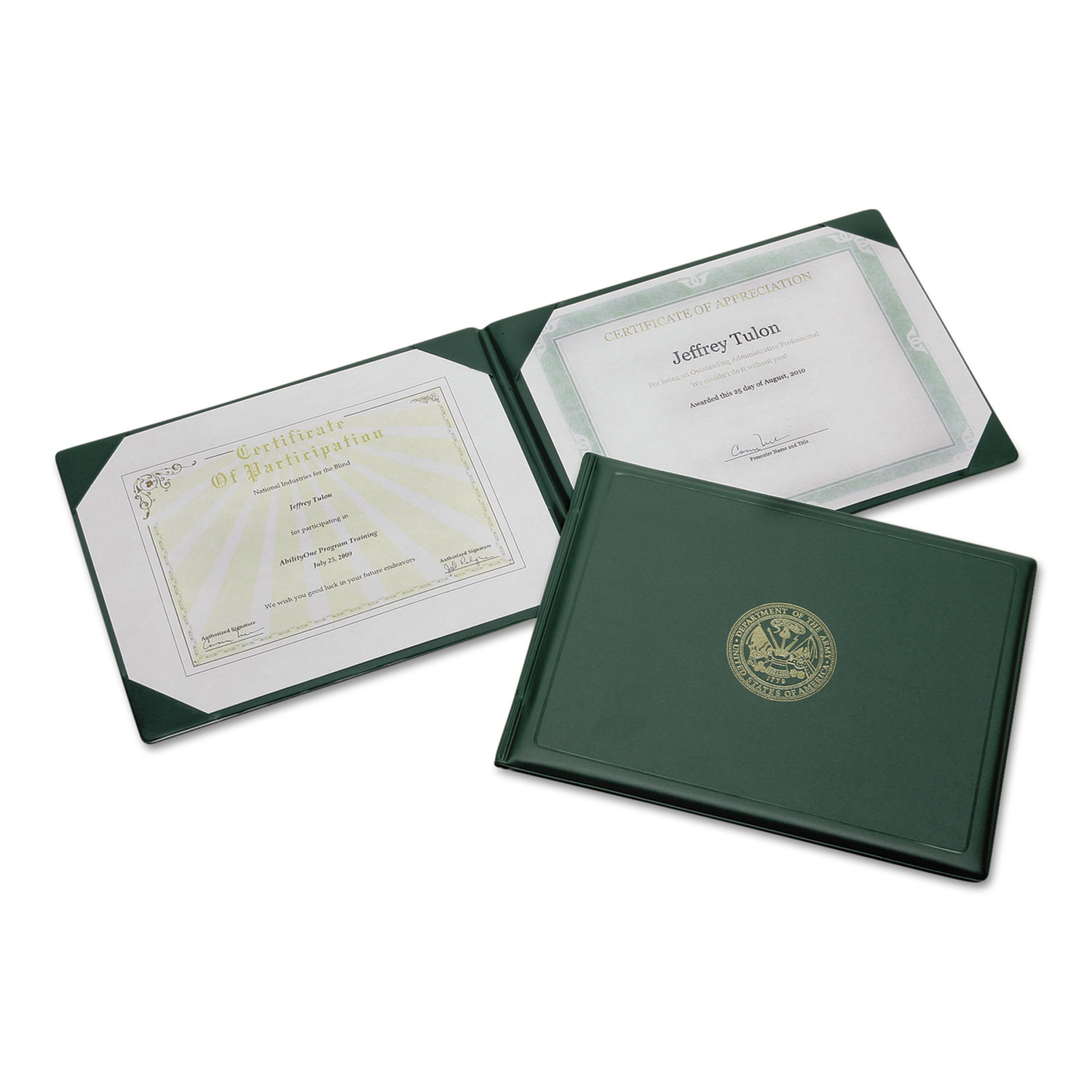 certificate award holder army abilityone seal gold skilcraft padded holders binder gsa document awards covers ontimesupplies paper bscsource certificates quick