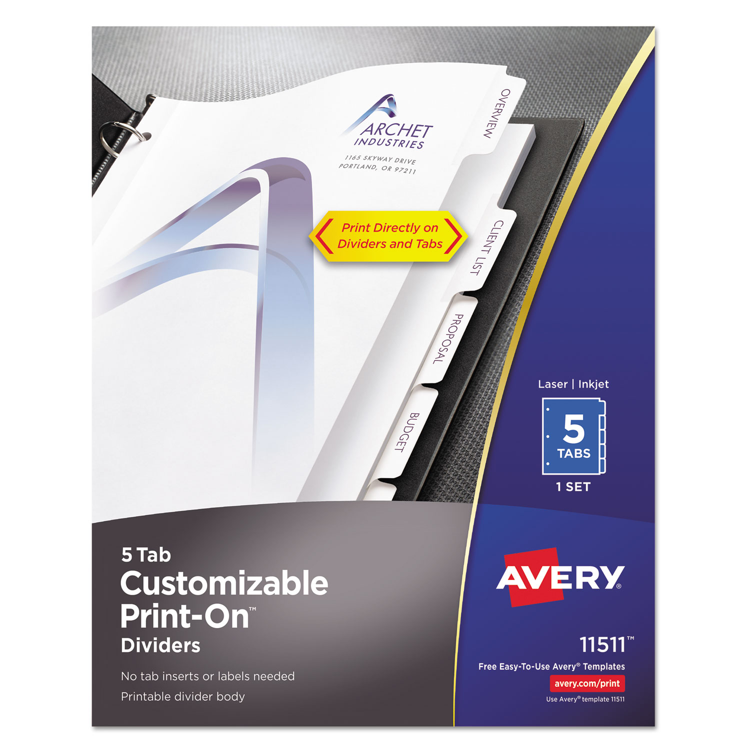 Customizable PrintOn Dividers By Avery AVE OnTimeSuppliescom - Avery print on tabs template